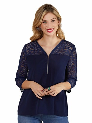 Yumi Navy Lace Top with Zip Detail