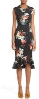 Erdem Women's Floral Print Flounce Hem Cady Dress