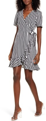 Vero Moda Helenmilo Stripe Wrap Front Linen Blend Dress