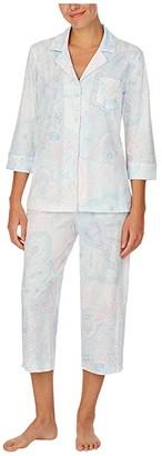 Lauren Ralph Lauren Petite Jersey Knit 3/4 Sleeve Notch Collar Capri Pants Pajama Set (Mint Paisley) Women's Pajama Sets