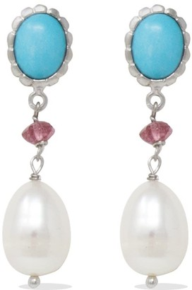Vintouch Italy Turquoise, Pink Quartz & Pearl Drop Earrings
