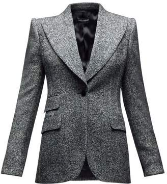 Dolce & Gabbana Single Breasted Wool Blend Peak Lapel Blazer - Womens - Grey Multi