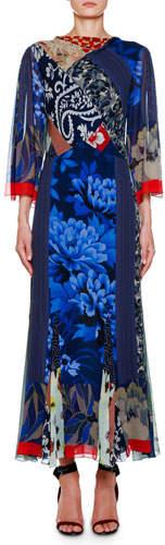 Etro Pacific Zen Godet Chiffon Dress