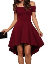 FANOVI Women Plain Short Sleeve Off the Shoulder High Low Hem Dovetail Dress S