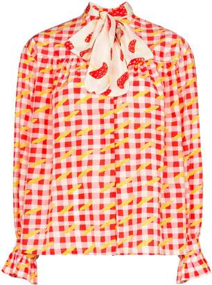 Checked Pussy-Bow Blouse