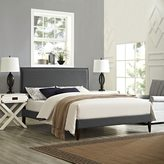 Modway Camille Grey Fabric Platform Bed with Squared Tapered Legs