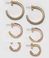 Monki 3 Pack Jewel Hoop Earrings