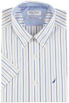 Nautica Classic Fit Wrinkle Resistant Multi Stripe Short Sleeve Shirt
