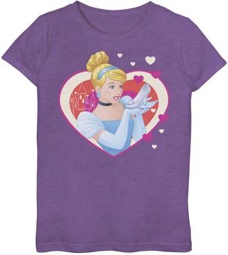 Disney Disney's Cinderella Girls 7-16 Valentine's Sparkle Hearts Graphic Tee