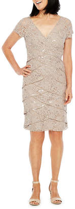 Scarlett Short Sleeve Embellished Midi Sheath Dress
