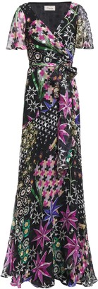 Temperley London Printed Fil Coupe Silk-blend Wrap Dress