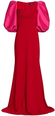 Badgley Mischka Odessa Balloon-Sleeve Gown