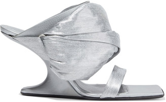 Rick Owens Gathered Metallic Twill And Textured-leather Wedge Sandals