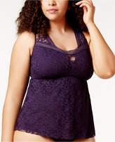 Becca Etc Plus Size Illusion Crochet Tankini Top Women's Swimsuit