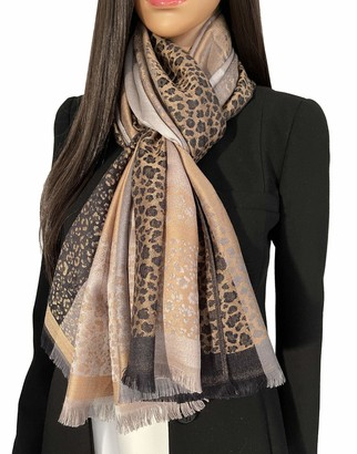 The Accessory Co. Women Leopard Print Scarf Shawl - Animal Leopard Print Gifts Silk Pashmina Wrap Large Long Ladies Scarves Wearable Blanket Scarf womens winter scarfs Stole