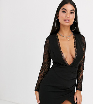 Asos DESIGN Petite long sleeve lace insert wrap mini dress