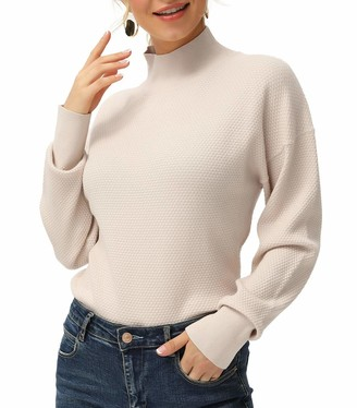 Liumilac Women High Stretchy Small Pullover Turtleneck Knit Sweater Face Texture Pullover