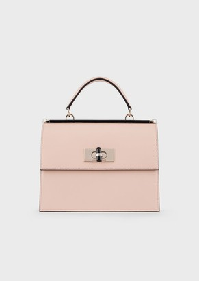 Giorgio Armani Borgonuovo 11 Smooth Leather Handbag With Plexiglass Turn Lock And Details