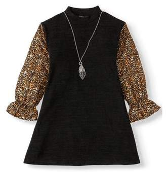My Michelle Holiday Cozy Sweater Knit Dress With Victorian Sleeve and Necklace (Big Girls)