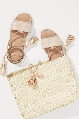 Minda Embroidered Ankle-Tie Sandals