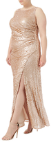 Adrianna Papell Plus Size Sequin Pailette Maxi Dress, Nude