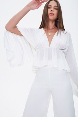 Forever 21 Plunging Cape Sleeve Top