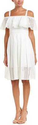 Eliza J Cold-Shoulder Eyelet Dress