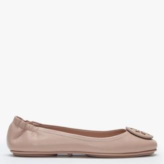 Tory Burch Minnie Travel Logo Goan Sand Leather Ballet Pumps