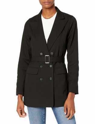 The Drop Women's Black Double-Breasted Long-Line Belted Blazer by @somewherelately XXS