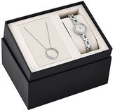 Bulova Crystal Stainless Steel Watch and Pendant Box Set