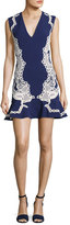Jonathan Simkhai Truss Lace Appliqué; V-Neck Flounce Dress