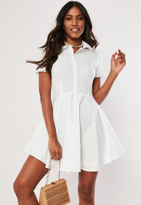 Missguided White Button Skater Shirt Dress