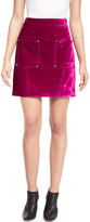 Opening Ceremony Croc-Embossed High-Waist Mini Skirt, Plum-Purple