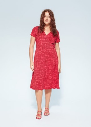 MANGO Violeta BY Flowy printed dress red - 10 - Plus sizes