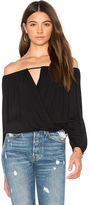 Krisa Off Shoulder Surplice Top in Black. - size S (also in XS)
