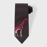 Paul Smith Men's Black Giraffe Tip Narrow Silk Tie