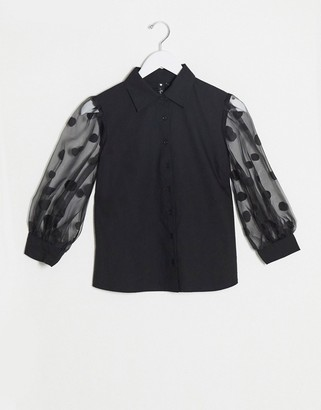 Influence blouse with spot organza puff sleeves in black