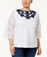 Charter Club Plus Size Lace 3/4-Sleeve Blouse, Created for Macy's