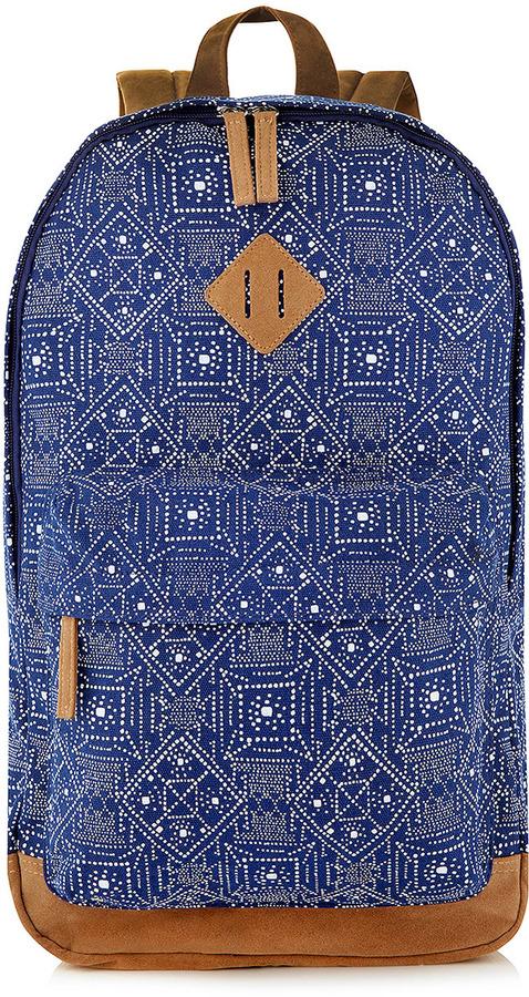 Topman Blue Canvas Pattern Backpack