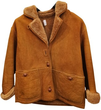 Emporio Armani Camel Shearling Leather Jacket for Women