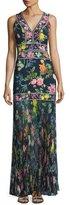 Tadashi Shoji Sleeveless Floral Chiffon Gown, Blue