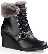 UGG Janney Lace Up Sheepskin Cuff Strap Detail Leather Wedge Boots