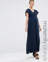 Mama Licious Mama.licious Mamalicious Maternity Maxi Dress With Frill Sleeves