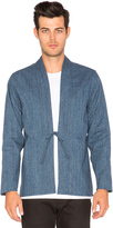 Naked & Famous Denim Kimono Shirt Indigo Speckle Dye Basketweave