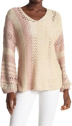 ALL IN FAVOR Striped Open Knit Dolman Sweater