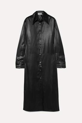 Acne Studios Dimara Satin Shirt Dress - Black