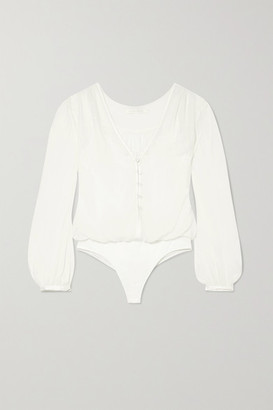 Jonathan Simkhai Layered Lace-trimmed Jersey And Silk-crepon Bodysuit - Ivory