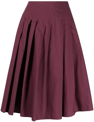 Alysi Asymmetric-Pleat Skirt