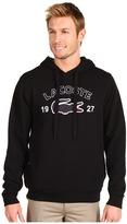 Lacoste Pullover Fleece Hoodie w/ Applique Croc (Black/White) - Apparel