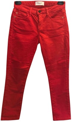 Acquaverde Red Cotton Jeans for Women
